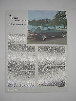 Reliant Scimitar GTE Road Test from 1970 - Original article