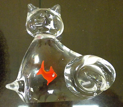 Art Glass CAT that Swallowed  GOLDFISH Paperweight, Smooth and beautiful!