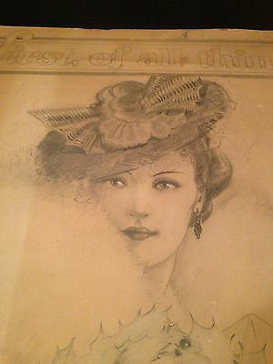 SUPER RARE Mink Lady Folgers Coffee Antique Advertising Poster Sign Sketch WOW