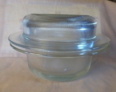 c1975 HELLER Ovenware Clear Glass Ribbed Casserole BASE Only NO LID