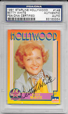 BETTY WHITE Signed HOLLYWOOD Card GOLDEN GIRLS Hot in Cleveland TV Show PSA/DNA