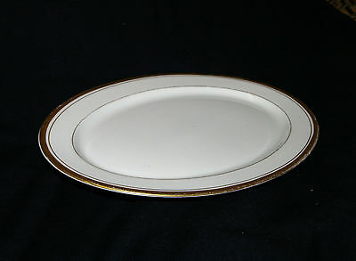 "Syracuse China O. P. Co. Old Ivory Monticello 10"" Oval Serving Platter Gold Trim"