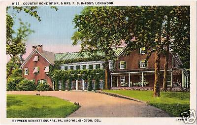 Postcard Delaware DuPont Country Home Longwood 1952