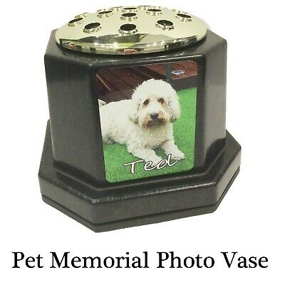 Pet Memorial Plaque Vase Pot - Any cat dog rabbit photo Printed - not engraved