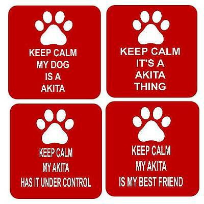 Keep Calm My Dog Akita Square Fridge Magnet 4 Different Designs
