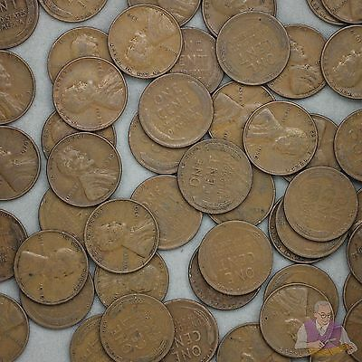 1930 Lincoln Wheat Cent Roll 50 Circulated Pennies US Coins