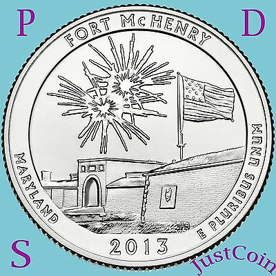 2013 PDS SET FORT McHENRY (MD) QUARTERS UNCIRCULATED FROM U.S. MINT ROLL