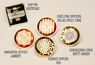 ALIEN / ALIENS Nostromo Crew Division PIN BADGE SET with Gift Box - NEW!