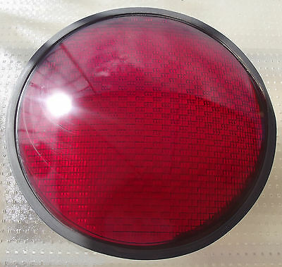 "VINTAGE GLASS DIFFUSING LENSES 12"" KOPP GLASS INC. TRAFFIC SIGNAL LIGHTS RED"