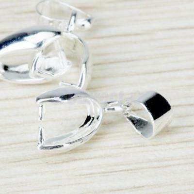 20 Silver Plated Pinch Bails Pendant Clasp Necklace Connector Jewelry Findings