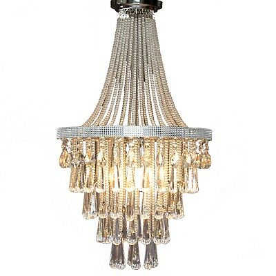 OLIVIA Staircase Chandelier Crystal Pendant Chrome French Empire Basket Vintage