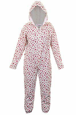 Girls Star Print Zip Front Comfy Children's Hooded All In One Sleepsuit