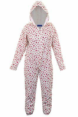 Children's Zip Front Hooded Star Print Girls Comfy Sleepsuit All On One
