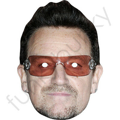 U2 frontman Bono, great celebrity singer card mask. All Our Masks Are Pre-Cut!