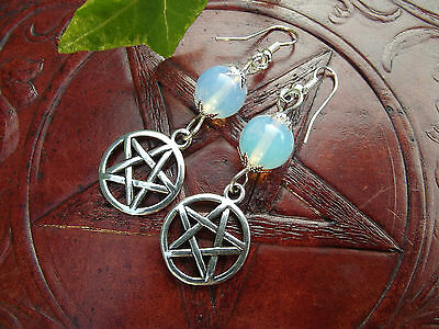 Pentacle & Moonstone 925 Sterling Silver Earrings  Witchcraft Wicca Pagan Witch