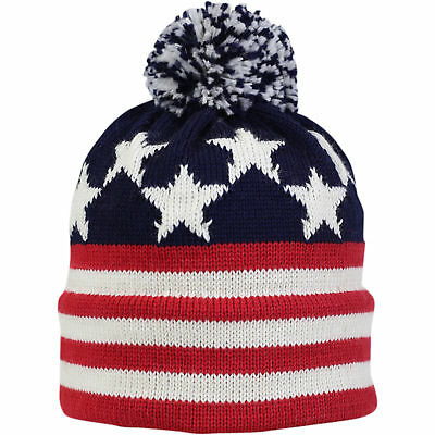 b4b8784146c85 Vermont Originals 100% Wool USA Made Winter Hat Old Glory Stars and Stripes  Red