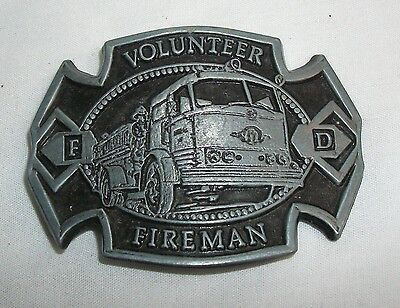 Vintage Volunteer Fireman Fire Department Belt Buckle Grey & Black
