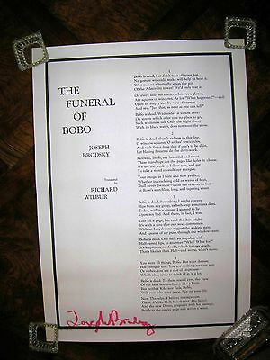 """The Funeral of Bobo by Joseph Brodsky Signed Poster 1974 28 3/8's Inches By 20""""!"""
