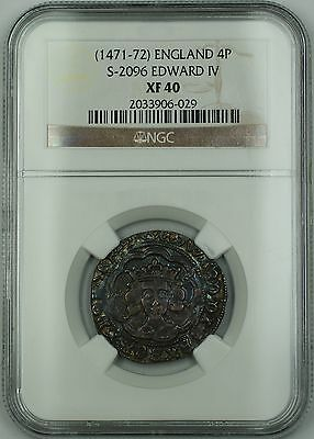 (1471-72) England Silver Groat Fourpence 4P Coin S-2096 Edward IV NGC XF-40 AKR