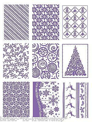 """1 COUTURE CREATIONS Prägeschablone EMBOSSING FOLDER """"Christmas Collection"""" B6"""