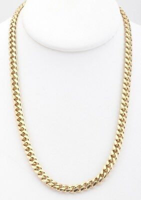 """18K Gold Overlay Cuban Curb Chain Link Necklace 6mm Lifetime Warranty 18"""" - 36"""""""