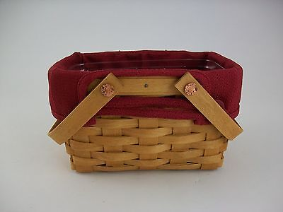 Longaberger Little Market Basket w Protector and Liner Paprika Red