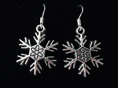 Sterling Silver Vintage Snowflake Christmas Earrings With A Gift Box Or Pouch