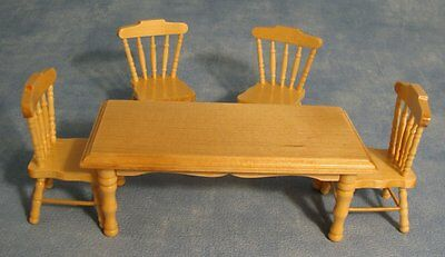 Pine Table & Chairs Dolls House Miniature Dining Table Kitchen Room Furniture
