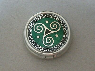 Enameled Celtic Spiral Trinity Pill Box LRG 3 compartments Green and Black