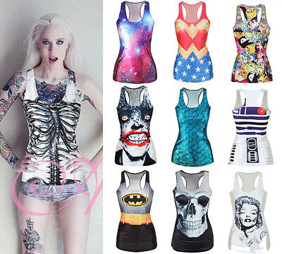 Fashion Womens Graphic Printed T Shirt Blouses Tops Vest Gothic Tank Clubwear