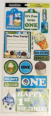 Baby Boy 1st Birthday Blue Fun to Be One Creative Imaginations Stickers