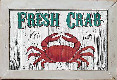 """Vintage Style Country Primitive Beach Nautical Home Decor """"Crab"""" Wall Art"""