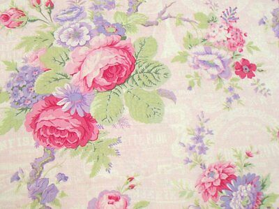 Per 1/2 yard LakeHouse Sausalito Cottage Roses w/French Words LH13000B-Baby