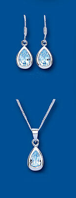 Sterling Silver Blue Topaz Pear Pendant & Earring Set with 40.6cm Chain