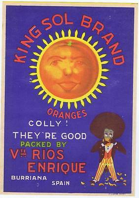King Sol Brand  original Spanish Orange Crate label