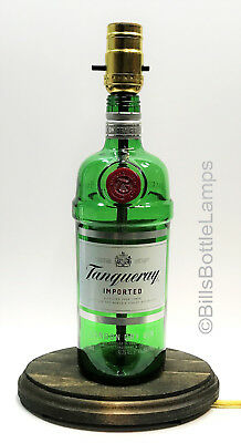 TANQUERAY GIN Bottle TABLE LAMP LIGHT w/ Wood Base LED Bulb Bar Lounge Decor