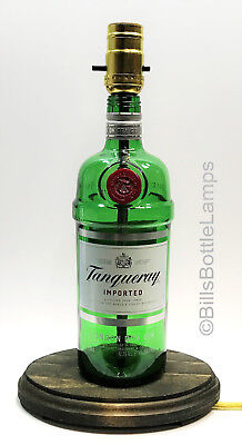 TANQUERAY GIN Liquor Bottle TABLE LAMP Light Wood Base Bar Lounge Man Cave Decor