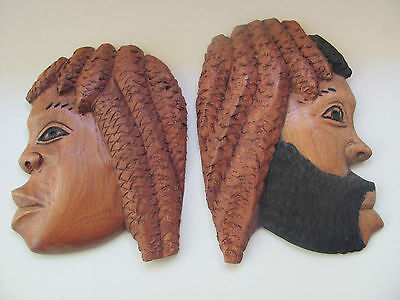 Jamaica Dreadlocks Couple Hand Carved & Painted Wood Plaques Wall Hangings