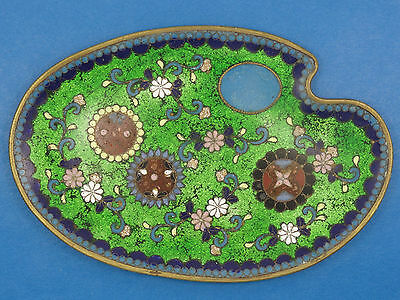 ANTIQUE CHINESE QING LATE 19c. ELABORATE FLORAL CLOISONNE PLATE  古董景泰蓝罐