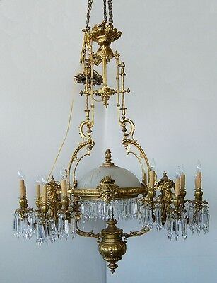 French Chandelier, Gilt-Bronze and Crystal ,19th C.  #7708