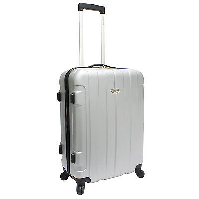 """Traveler's Choice Rome 25"""" Silver Hardside Lightweight Spinner Rolling Luggage"""