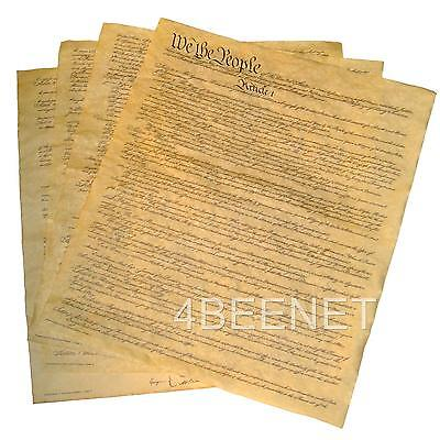 U.S. CONSTITUTION on 4 small pages - rolled in tube  REPLICA PARCHMENT PRINT new