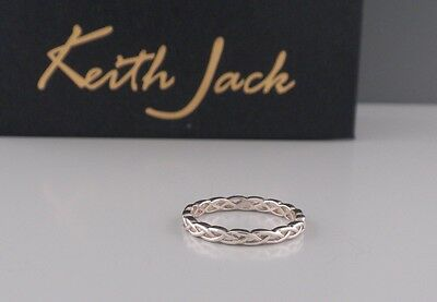 Dainty Narrow Sterling Silver Celtic Weave Ring KEITH JACK Various Sizes