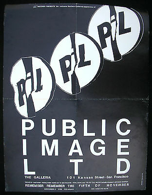 PUBLIC IMAGE LIMITED The Galleria SAN FRANCISCO 1982 Concert POSTER Sex Pistols