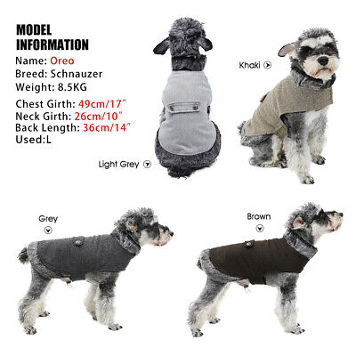 Pet Dog Woolen Coat Jacket Clothes Puppy Small Dog Cat Winter Soft Warm Costume