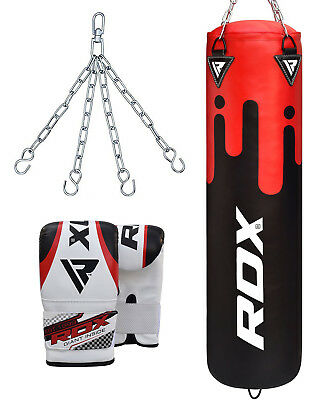 RDX 5FT Filled Punch Bag MMA Training KickBoxing With Gloves & Chain OS