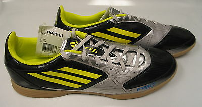 NEW Mens Adidas F5 Indoor Soccer Shoes SILVER/LIME/BLACK Size US 12