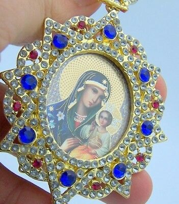 Blue Jeweled Russian Icon Pendant Madonna And Child Medal NR
