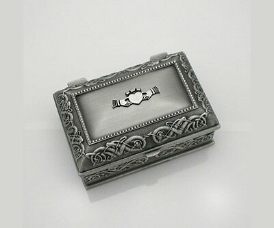 Small Pewter Claddagh Jewelry Box IRISH MADE by Mullingar Pewter