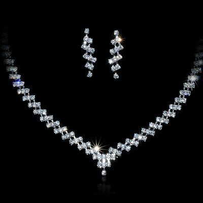 Bridal Wedding Party Diamante Jewelry Crystal Necklace Earrings Set